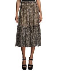 Michael Kors Tiered Ruffle Peasant Skirt Taupe Brown