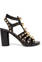 Balenciaga Giant Studded Textured Leather Sandals Black