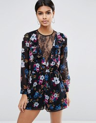 Asos Pretty Floral And Lace Playsuit Multi