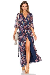 Haute Hippie Flutter Sleeve Maxi Dress Navy