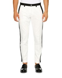 Dolce And Gabbana Contrast Trim Flat Front Slim Straight Pants White Black