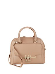 Love Moschino Structured Dome Satchel Bag Beige