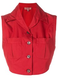 Romeo Gigli Vintage 1990'S Cropped Blouse Red