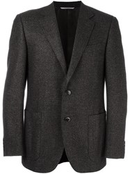 Canali Woven Single Breasted Blazer Brown