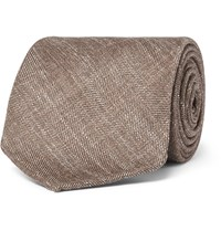Drakes Drake's 8Cm Herringbone Wool Silk And Linen Blend Tie Brown