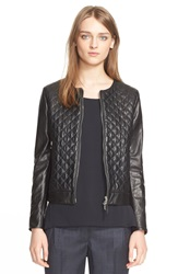 Eleventy Diamond Quilted Leather Jacket Black