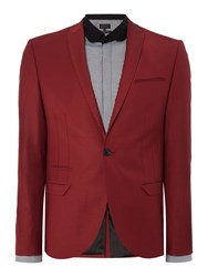 Label Lab Men's Rutherford Peak Lapel Skinny Suit Jacket Red