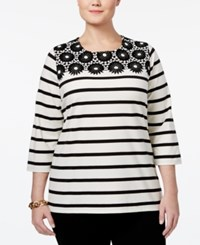 Charter Club Plus Size Striped Crochet Trim Top Only At Macy's Cloud Combo