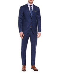 Isaia Box Check Two Piece Suit Blue