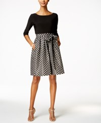 Jessica Howard Petite Polka Dot Fit And Flare Dress Black Silver