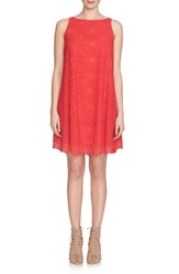 Women's 1.State Crochet Overlay Trapeze Dress Crimson Berry