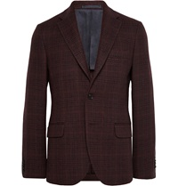 Mp Massimo Piombo Burgundy Slim Fit Checked Fleece Wool Blazer