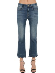 Frame Cropped Stretch Cotton Denim Jeans Blue