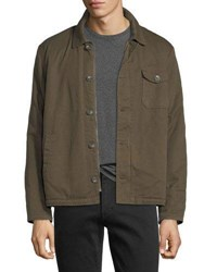 Velvet Canvas Faux Sherpa Lined Army Jacket Green