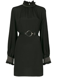 John Richmond Smocked Neck And Sleeve Studded Detail Dress Black
