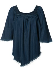 Nsf Fringed Denim Blouse Blue