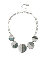 Kenneth Cole Lunar Eclipse Mother Of Pearl Shell Circle Necklace Silver