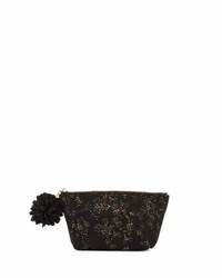 Neiman Marcus Golden Fleck Pompom Cosmetic Bag Black