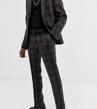 Heart And Dagger Slim Suit Trouser In Brown Harris Tweed