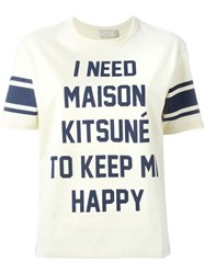 Maison Kitsune Front Print T Shirt Nude And Neutrals