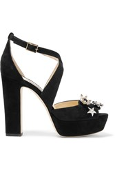 Jimmy Choo Janet Embellished Suede Platform Sandals Black