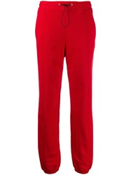 Msgm Logo Tape Track Pants Red