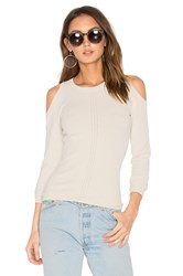 Autumn Cashmere Pointelle Cold Shoulder Sweater Gray