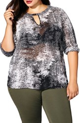 Mblm By Tess Holliday Plus Size Women's Print Keyhole Blouse