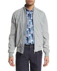 Brioni Perforated Suede Bomber Jacket Light Gray Men's