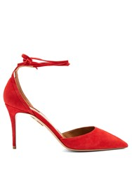 Aquazzura Heart Breaker Suede Pumps Red