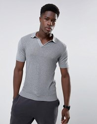 Mango Man Knitted Polo With Revere Collar In Gray Gray
