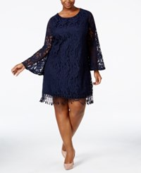 Plus Size Lace Fringe Trim Dress Navy