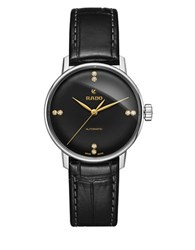 Rado Coupole Classic Stainless Steel And Leather Strap Watch Black