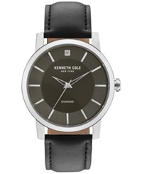 Kenneth Cole New York Men's Diamond Accent Black Leather Strap Watch 44Mm Kc15114005