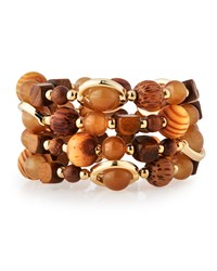Emily And Ashley Greenbeads By Emily And Ashley Wood Bead Wire Wrap Bracelet Brown