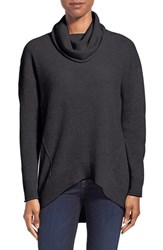 Women's Kinross Exposed Seam Cashmere Cowl Neck Sweater Charcoal