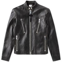 Coach Leather Rub Off Racer Jacket Black