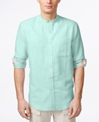 Tasso Elba Island Banded Collar Textured Striped Shirt Aqua Combo