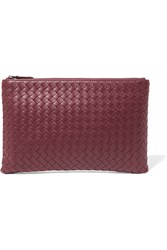 Bottega Veneta Intrecciato Leather Pouch Burgundy