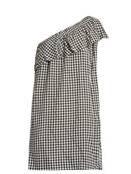 Velvet By Graham And Spencer Virgie One Shoulder Gingham Dress Black Print