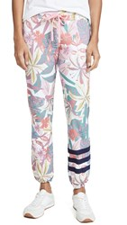 Sundry Stripes Floral Sweats White