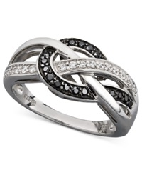 Wrapped In Love Diamond Ring Sterling Silver White Diamond And Black Diamond Knot 1 4 Ct. T.W.