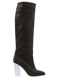 Max Mara 95Mm Faux Suede High Boots Brown