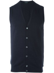 Zanone Sleeveless V Neck Cardigan Blue