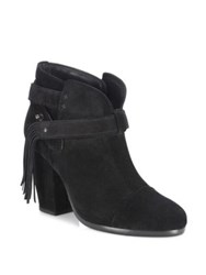 Rag And Bone Harrow Fringe Suede Booties Tan Black