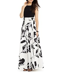 Ralph Lauren Petites Printed Skirt Gown Cream Black