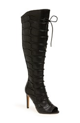 Vince Camuto Women's 'Kesta' Strappy Knee High Boot Black Leather