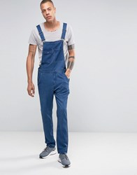 Asos Denim Overalls With Abrasions In Blue Blue