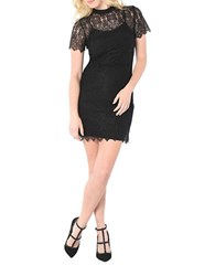 Kensie Short Sleeve Dainty Lace Sheath Dress Black