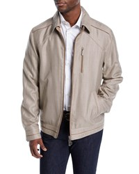 Stefano Ricci Textured Bomber Jacket With Leather Trim Beige